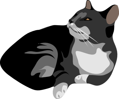 Free Black and Gray Cat Clipart